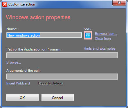 How to add a Windows Action in click to