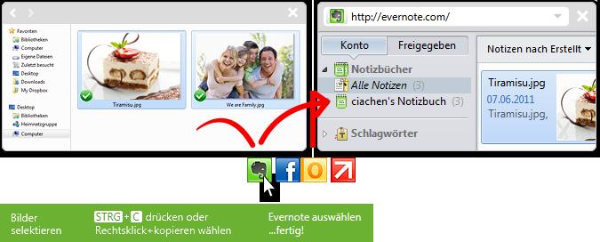 click.to Evernote - Bilder hinzufügen