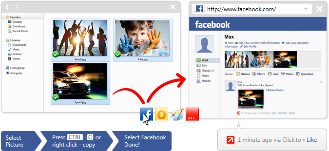 Here's how you can upload multiple pictures to an album: www.clicktoapp.com/overview-features/facebook